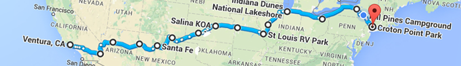 Cross-country trip #14 route