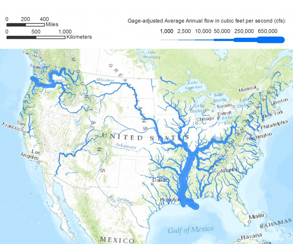 Map of American rivers showing current water flow volumes