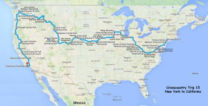 Map of Our 15th Cross-country Itinerary